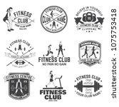 fitness club badges. vector.... | Shutterstock .eps vector #1075753418