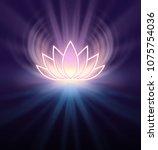 sacred lotus symbol   lemon... | Shutterstock . vector #1075754036