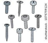 vector set of screw | Shutterstock .eps vector #1075759124