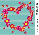 colored flowers heart on the... | Shutterstock .eps vector #1075761254