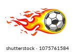soccer ball in burning fire... | Shutterstock .eps vector #1075761584