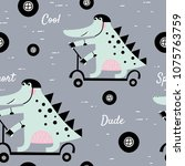 cute alligator rides a scooter. ... | Shutterstock .eps vector #1075763759