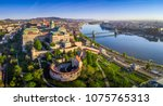 Budapest, Hungary - Aerial panoramic skyline view of Buda Castle Royal Palace with Szechenyi Chain Bridge, St.Stephen