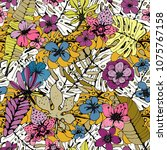 seamless pattern with tropical... | Shutterstock .eps vector #1075767158