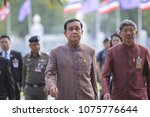 Small photo of Bangkok, Thailand-April 24, 2018: Thai prime minister, Prayut Chan-o-cha reacts at Thai Government House.