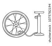 vector set of bicycle pump | Shutterstock .eps vector #1075782194