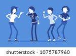 teenager girl bullying and...   Shutterstock .eps vector #1075787960