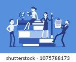 teachers group at giant books.... | Shutterstock .eps vector #1075788173