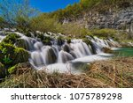 plitvice lakes with waterfall ... | Shutterstock . vector #1075789298