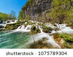 plitvice lakes with waterfall ... | Shutterstock . vector #1075789304