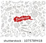 sketch barbecue party elements... | Shutterstock .eps vector #1075789418