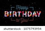 colorful 3d text birthday   Shutterstock . vector #1075793954
