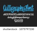 calligraphic vector script font.... | Shutterstock .eps vector #1075797230