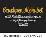 calligraphic vector script font.... | Shutterstock .eps vector #1075797239