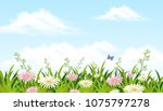 a beautiful flower field with... | Shutterstock .eps vector #1075797278