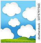 green hills landscape cloudy... | Shutterstock .eps vector #1075797560