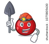 miner red currant mascot cartoon   Shutterstock .eps vector #1075805630
