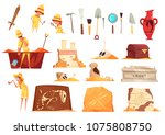archeology set of icons with... | Shutterstock .eps vector #1075808750