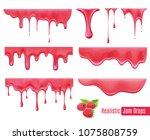 melting raspberry jam drops... | Shutterstock .eps vector #1075808759