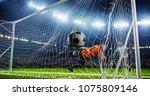 soccer game moment  on... | Shutterstock . vector #1075809146