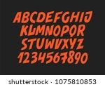 hand drawn alphabet. modern...   Shutterstock .eps vector #1075810853