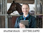 Stock photo portrait of female vet with digital tablet examining horse in stable 1075811690