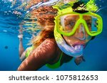 Happy Girl In Snorkeling Mask...
