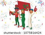 russia 2018 world cup  moroccan ... | Shutterstock . vector #1075816424