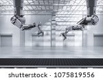 3d rendering robot arms with... | Shutterstock . vector #1075819556