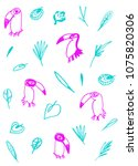 hand drawn cartoon toucans.... | Shutterstock .eps vector #1075820306