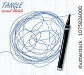 tangle scrawl sketch vector.... | Shutterstock .eps vector #1075826000