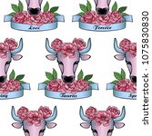 taurus zodiac sign with pink... | Shutterstock .eps vector #1075830830