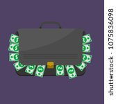 suitcase with dollar banknotes. ... | Shutterstock . vector #1075836098