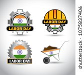 india flag with labour day... | Shutterstock .eps vector #1075837406