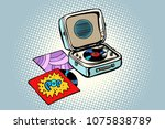 retro record player  gramophone.... | Shutterstock .eps vector #1075838789