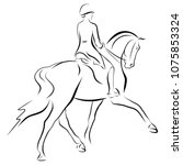 a sketch of a dressage rider on ... | Shutterstock .eps vector #1075853324