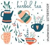 cute herbal tea set. vector... | Shutterstock .eps vector #1075859339