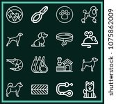 set of 16 animals outline icons ...   Shutterstock .eps vector #1075862009