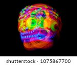 freaky monster uv fluorescent... | Shutterstock . vector #1075867700