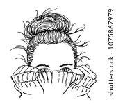 sketch of portrait of teenage... | Shutterstock .eps vector #1075867979