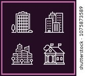 set of 4 city outline icons... | Shutterstock .eps vector #1075873589