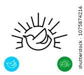 early bird line style logo....   Shutterstock .eps vector #1075874216