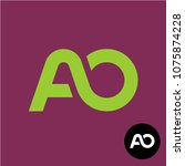letters ao monogram. two... | Shutterstock .eps vector #1075874228