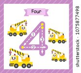 cute children flashcard number... | Shutterstock .eps vector #1075877498