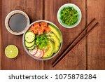 an overhead photo of poke ... | Shutterstock . vector #1075878284