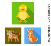 toy animals flat icons in set...   Shutterstock .eps vector #1075885019