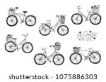 romantic bicycles with a flower ... | Shutterstock .eps vector #1075886303
