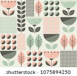seamless pattern with flowers... | Shutterstock .eps vector #1075894250