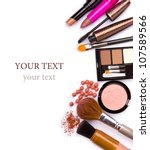 makeup brush and cosmetics  on... | Shutterstock . vector #107589566