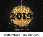 happy new year 2019 greeting... | Shutterstock .eps vector #1075897823